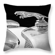 1937 Jaguar Prototype Hood Ornament -386bw55 Throw Pillow