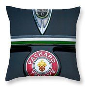 1937 Packard 1508 Twelve Convertible Sedan Emblems Throw Pillow