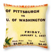 1937 Rose Bowl Ticket Throw Pillow