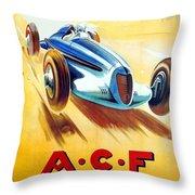 1938 - Automobile Club De France Poster - Reims - George Ham - Color Throw Pillow