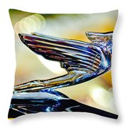 1938 Cadillac V-16 Hood Ornament 2 Throw Pillow by Jill Reger