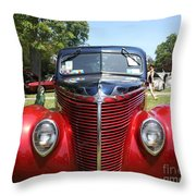 1938 Ford Two Door Sedan Front View Throw Pillow