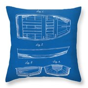 1938 Rowboat Patent Artwork - Blueprint Throw Pillow