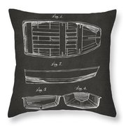 1938 Rowboat Patent Artwork - Gray Throw Pillow by Nikki Marie Smith