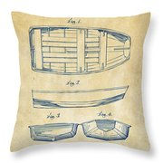 1938 Rowboat Patent Artwork - Vintage Throw Pillow