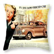 1939 - Plymouth Automobile Advertisement - Color Throw Pillow