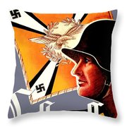 1939 German Luftwaffe Recruiting Poster - Color Throw Pillow