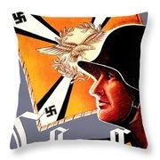 1939 German Luftwaffe Recruiting Poster - Color Throw Pillow