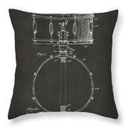 1939 Snare Drum Patent Gray Throw Pillow