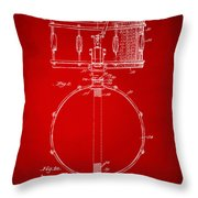 1939 Snare Drum Patent Red Throw Pillow
