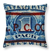 1940-1965 Internal Revenue Playing Cards Stamp Throw Pillow