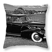 1940 Cadilac Bw Throw Pillow