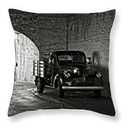 1940 Chevrolet Pickup Truck In Alcatraz Prison Throw Pillow by RicardMN Photography