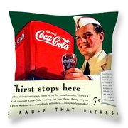 1940 - Coca-cola Advertisement - Color Throw Pillow
