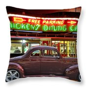 1940 Ford Deluxe Coupe At Mickeys Dinner  Throw Pillow
