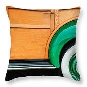 1940 Packard 120 Woody Station Wagon Wheel Emblem Throw Pillow