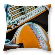 1940 Plymouth Deluxe Woody Wagon Steering Wheel Emblem -0116c Throw Pillow