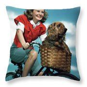 1940s 1950s Smiling Teen Girl Riding Throw Pillow