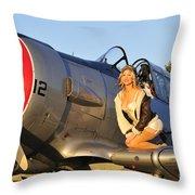 1940s Style Aviator Pin-up Girl Posing Throw Pillow