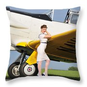 1940s Style Navy Pin-up Girl Leaning Throw Pillow by Christian Kieffer
