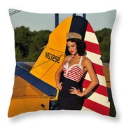 1940s Style Pin-up Girl Leaning Throw Pillow by Christian Kieffer