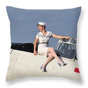 1940s Style Pin-up Girl Sitting Throw Pillow
