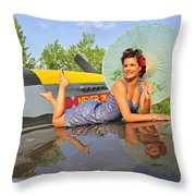 1940s Style Pin-up Girl With Parasol Throw Pillow by Christian Kieffer