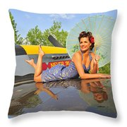 1940s Style Pin-up Girl With Parasol Throw Pillow