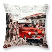 1941 - Ford Super Deluxe Automobile Advertisement - Color Throw Pillow