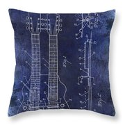 1941 Gibson Electric Guitar Patent Drawing Blue Throw Pillow