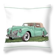 1941 Lincoln V-12 Continental Throw Pillow