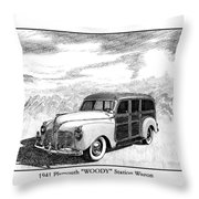 1941 Plymouth Woody Throw Pillow