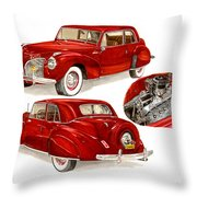1941 V 12  Lincoln Continental Throw Pillow