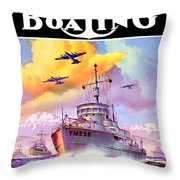 1942 - Motor Boating Magazine Cover - October - Color Throw Pillow