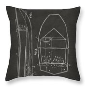 1943 Chris Craft Boat Patent Artwork - Gray Throw Pillow