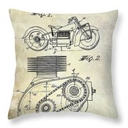 1943 Indian Motorcycle Patent Drawing Throw Pillow