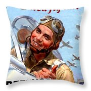 1944 - United States War Bonds And Stamps Poster - Wolrd War II - Color Throw Pillow