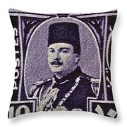 1944 King Farouk Egypt Stamp  Throw Pillow