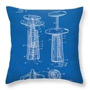 1944 Wine Corkscrew Patent Artwork - Blueprint Throw Pillow