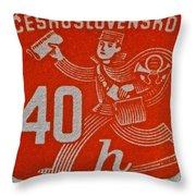 1945 Czechoslovakia Newspaper Stamp Throw Pillow