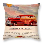 1946 - Pontiac Woodie Station Wagon And Convertible Advertisement - Color Throw Pillow