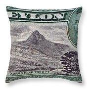 1946 Ceylon - Sri Lanka - Stamp Throw Pillow