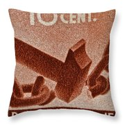 1946 Hammer That Breaks A Chain Italiane Stamp Throw Pillow