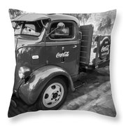 1947 Ford Coca Cola C.o.e. Delivery Truck Bw Throw Pillow