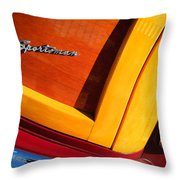 1947 Ford Super Deluxe Sportsman Convertible Taillight Emblem Throw Pillow