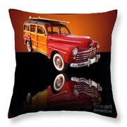 1947 Ford Woody Throw Pillow by Jim Carrell