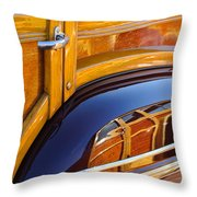 1947 Mercury Woody Reflecting Into 1947 Ford Woody Throw Pillow