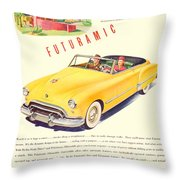 1948 - Oldsmobile Convertible Automobile Advertisement - Color Throw Pillow