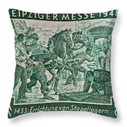 1948 Allied Occupation German Stamp Throw Pillow