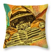 1948 Chev Gold Tie Dye Tilt Car Art Throw Pillow